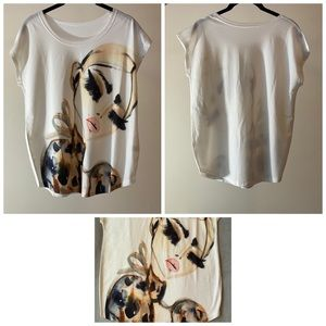 Women's short sleeve graphic blouse